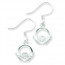 Diamond Cut Claddagh Earrings in Sterling Silver