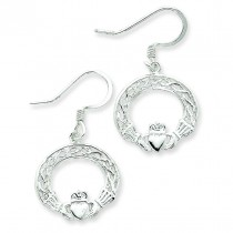 Celtic Knot Claddagh Earrings in Sterling Silver