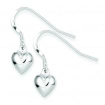 Heart Dangle Earrings in Sterling Silver