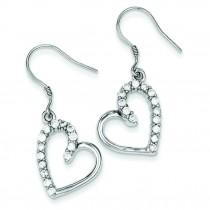 CZ Heart Earrings in Sterling Silver