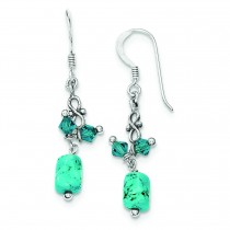 Turquoise Blue Crystal Antiqued Earrings in Sterling Silver