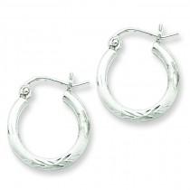 Satin Diamond Cut Hoop Earrings in Sterling Silver