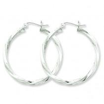 Twisted Hoop Earrings in Sterling Silver