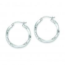 Satin Diamond Cut Twist Hoop Earrings in Sterling Silver