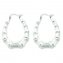 Oval Bamboo Hoop Earrings in Sterling Silver