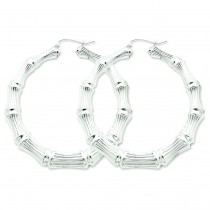 Bamboo Hoop Earrings in Sterling Silver