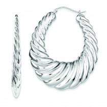 Fancy Hoop Earrings in Sterling Silver