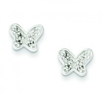 CZ Butterfly Earrings in Sterling Silver
