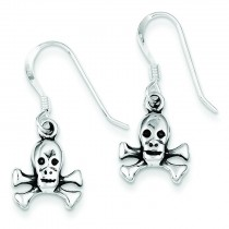 Skull Bones Dangle Earrings in Sterling Silver