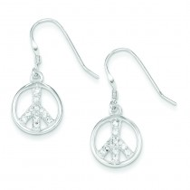 CZ Peace Sign Earrings in Sterling Silver