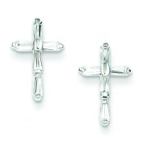 CZ Cross Post Earrings in Sterling Silver