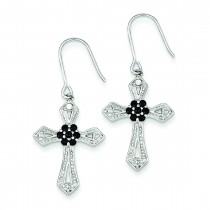 Diamond Accent Cross Earrings in Sterling Silver (0.03 Ct. tw.)
