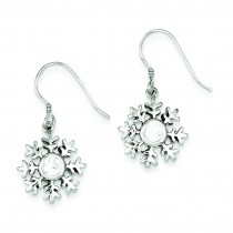 CZ Snowflake Dangle Earrings in Sterling Silver