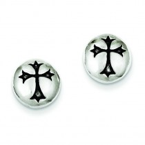 Antiqued Fleur-de-lis Cross Earrings in Sterling Silver
