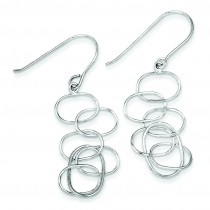 Knot Linked Ovals Dangle Earrings in Sterling Silver
