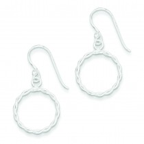 Twisted Circle Dangle Earrings in Sterling Silver