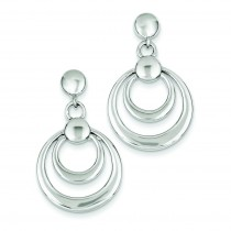 Double Circle Dangle Post Earrings in Sterling Silver