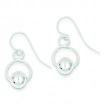Twist W Bead Dangle Earrings in Sterling Silver