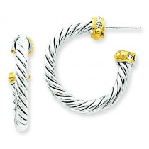 Vermeil Crystal Hoop Post Earrings in Sterling Silver
