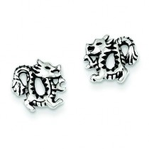 Antiqued Dragon Post Earrings in Sterling Silver