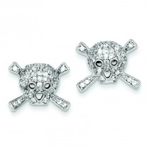 CZ Skull Post Earrings in Sterling Silver