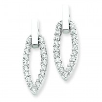 CZ Dangle Post Earrings in Sterling Silver