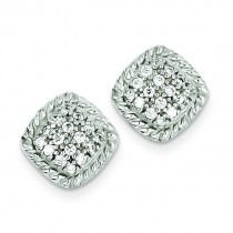 Square CZ Post Earrings in Sterling Silver