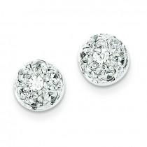 CZ Half Ball Post Earrings in Sterling Silver