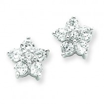 CZ Flower Post Earrings in Sterling Silver