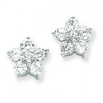CZ Flower Post Earrings in Sterling Silver