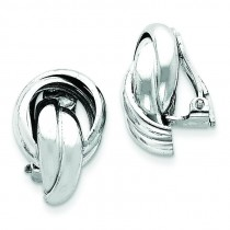 Knot Design Clip Back Non-pierced Earrings in Sterling Silver
