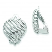 Heart Clip Back Non-pierced Earrings in Sterling Silver