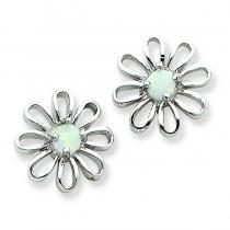 Opal Daisy Post Earrings in Sterling Silver
