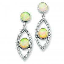 Opal CZ Post Earrings in Sterling Silver