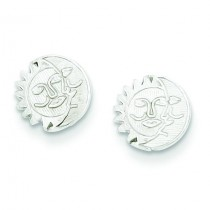Sun Moon Mini Earrings in Sterling Silver