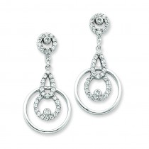 CZ Circle Dangle Post Earrings in Sterling Silver
