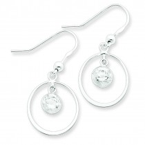 Circle Dangle Clear CZ Earrings in Sterling Silver