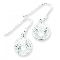 Round Clear CZ Earrings in Sterling Silver