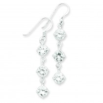 Clear CZ Dangle Earrings in Sterling Silver
