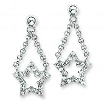 CZ Star Dangle Post Earrings in Sterling Silver