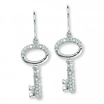 CZ Key Dangle Wire Earrings in Sterling Silver