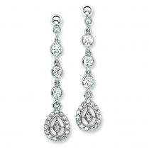 CZ Dangle Post Earrings in Sterling Silver