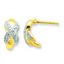 Vermeil Diamond Accent Post Earrings in Sterling Silver (0.01 Ct. tw.)