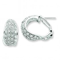 CZ Omega Back Earrings in Sterling Silver