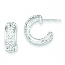W Swarovski Crystal Hoop Earrings in Sterling Silver