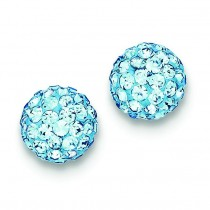 Aqua Swarovski Crystal Earrings in Sterling Silver