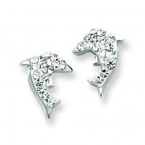 W Swarovski Crystal Dolphin Earrings in Sterling Silver