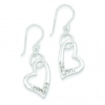 W Swarovski Crystal Heart Earrings in Sterling Silver