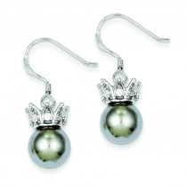 Grey Synthetic Pearl CZ Crown Earrings in Sterling Silver