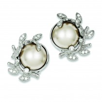 CZ Simulated Pearl Clip back Earrings in Sterling Silver